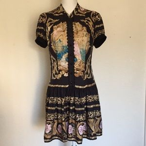 Bebe Printed Silk Dress With Pockets